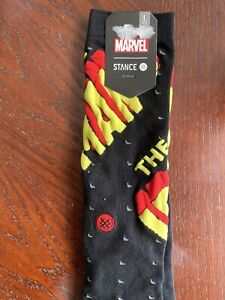 STANCE Marvel Iron Man Crew Socks Size Large (9-12) Black/Red/Yellow