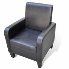 Artificial Leather Black Armchair Modern Arm Sofa Seat Chair Lounge Home TV
