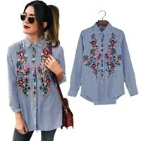 New Women Floral Embroidered Casual Blouse Autumn Long Sleeve Striped Shirt Tops