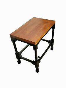 Industrial Teakwood Metal Accent Coffee Table End Table