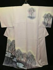 "Light Purple Silk ""Tsukesage Kimono"" w/Stream Scenery B723"