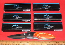(6) New-In-Box DAKOTA LockBack Folding Knives #7600 Wood Handles Stainless Steel