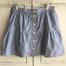 Madewell Bistro Stripe Skirt Size Small S Blue Chambray Denim Pinstripe Lined