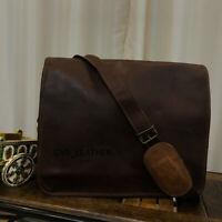 Personalized Men Leather Vintage Laptop Messenger Handmade Suitcase Bag Satchel