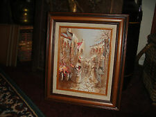 Vintage Oil Painting On Board Of Victorian Women In European Town-Thick Paint