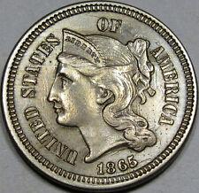 1865 Nickel Three Cent Piece Choice-Gem BU MS++...Flashy, Neat Die Clashes, NICE