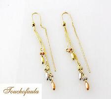 14K Tri Color Beautiful with Diamond Cut Beads Threader Earrings 3.3 Grams