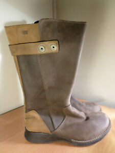Merrell Clay Women's Size 7.5 Mid Calf Brown Leather Side Zip Boots - Super Nice