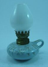 SIXTIES JAPAN MINIATURE DUSTY BLUE PORCELINE OIL LAMP WITH MILK GLASS CHIMNEY