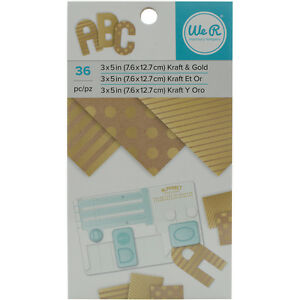 American Crafts We R Memory Keepers Paper Pad Kraft With Gold Foil 36 Sheets