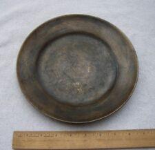 Vintage KOREAN Brass Heavy PLATE-Engraved Bird-DONG WHA-Seoul