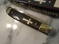 """Salvation Cross Trapper 2 Blade Pocket Knife John 3:16 Black Buffalo Horn 4.25"""""""