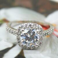 2CT Silver CZ Princess Cut Halo Engagement Ring/ Promise Square