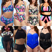 Plus Size Women High Waist Bandage Swimsuit Push-up Bikini Set Swimwear Bathing
