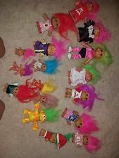 Set of 17 Troll dolls from the 80s