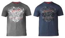 D555 Duke Bradley Biker T-shirt Big King Size Cotton Poly Mens Crew Neck Tee Navy 4xl