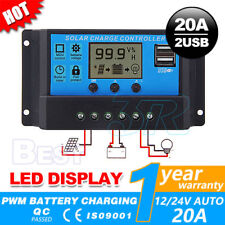 LCD Display PWN Solar Panel Regulator Charge Controller USB 20A 12V-24V Timer
