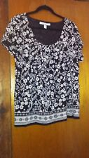 Croft And Borrow Ladies Casual Stretchy Blouse, Black w/White Floral /2X