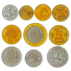 10 DIFFERENT COINS FROM MOROCCO. ARABIC AFRICAN MONEY. SANTIMAT, FRANCS, DIRHAM