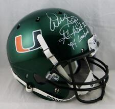 Warren Sapp Signed F/S Miami Hurricanes Green Helmet W/ 2 Insc- JSA W Auth *Whit