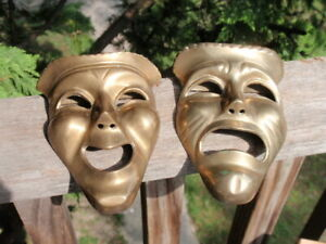 A PAIR OF SOLID BRASS HAPPY SAD CLOWNS COMEDY TRAGEDY  5.25 INCHES