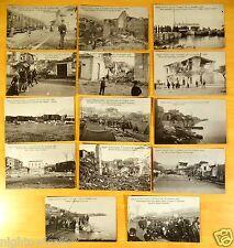 Earthquake Reggio Calabria Italy 14 rare Postcards 1908 Railroad refugees ruins