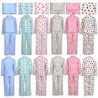 Ladies 100% Cotton Flannel Casual Nightwear Pyjama & Shirt Sleeping Dress Set