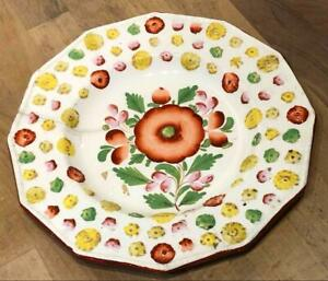 Antique Floral Hand Painted Creamware Plate, Embossed Floral Rim,  c. 1800