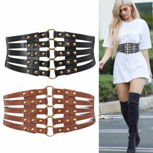 New Waist Corset Belt Women High Quality Punk Rivet Metal Stretch Belt Plus Size