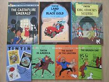 TINTIN LOT 7~Herge~9 COMPLETE STORIES~Unicorn~America~Ear~Calculus~Tibet~Sharks~