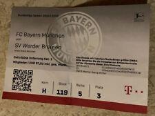 Used Sammler Ticket FC Bayern München vs SV Werder Bremen 1. BL 14.12.19 FCB SVW