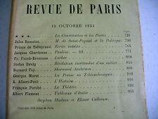 LA REVUE DE PARIS n° 20 - 1934 revue littéraire ZWEIG MAROT TALLEYRAND etc