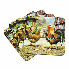 Set of 4 Drinks Coasters Farmyard Chickens Hens Surface Protector Table Desk Cup