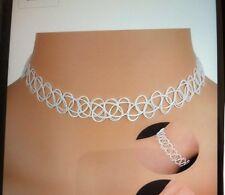 Tattoo Choker Gothic Collier Weiß Retro Halsband dehnbar elastisch Kette NEU