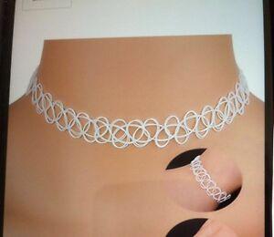 Tattoo Choker Gothic Collier Farbe Weiß Retro Halsband dehnbar elastisch 1 Kette