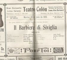 Programme Colon Teather Opera A Galil Cure A Tedeschi 1915