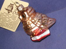 Blown Glass Wise Old Owl Christmas Tree Ornament Bronner's hang tag   6L3
