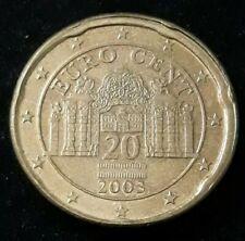 Monnaie 20 Cent Euro fautée Autriche 2003 tranche en roue de wagon R96