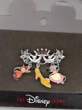 Disney Silver Cinderella Mice Jaq Perla Glass Slipper Jewelry Brooch Pin HTF
