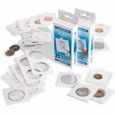 25 Lighthouse Matrix Self Adhesive 2x2 Coin Flip Holder White 32.5mm Half Dollar