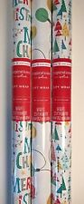 Christmas Wrapping Paper Lot 3 Multicolor Lights Trees Merry Xmas Gift Wrap New