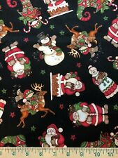 Christmas Santa Mrs. Claus Stockings Elves Chimney Red BTY Sew Quilt Fabric