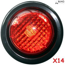 "14 TRUCK TRAILER 2"" RED ROUND SIDE MARKER LED CLEARANCE LIGHT + Grommet"