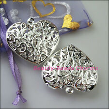3Pcs Big Hollow Flower Heart Charms Pendants Silver Plated 38x40mm