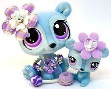 Littlest Pet Shop 3581 3582 Blue & Purple Polar Bear Mommy & Baby -Blemished #B