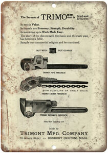 """Trimont Mfg Company Vintage Wrench Ad 10"""" X 7"""" Reproduction Metal Sign Z148"""