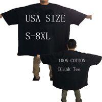 New Blank Heavy Cotton Plus Size T Shirt Black Unisex USA Size 4XL 6XL 7XL  8XL