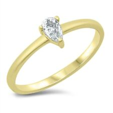 .925 Sterling Silver Ring Sizes 4-10 Cubic Zirconia Pear Shape Yellow Gold
