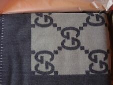 AUTHENTIC GUCCI THROW BLANKET GG LOGO WOOL CASHMERE BLEND BROWN NEW 950.00