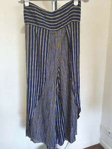 Indigo Blue Striped Thai Palazzo Pants with Open Sides Size 10 - 12